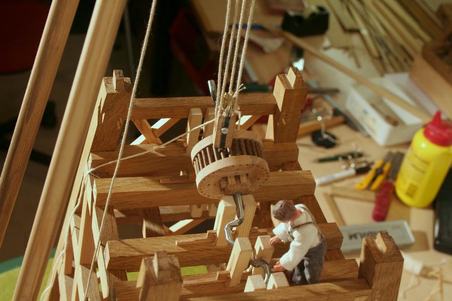 hijsen krukas krukwiel model molen penterbak